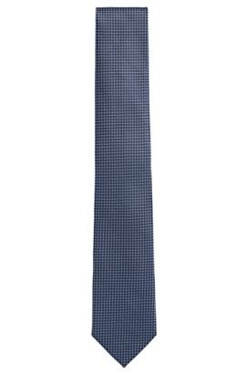 'Tie 7.5 cm' | Regular, Italian Silk Patterned Tie, Dark Blue