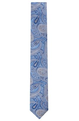 Embroidered Italian Silk Tie, Blue