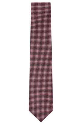 Embroidered Italian Silk Tie, Regular | Tie 7.5 cm, Open Red
