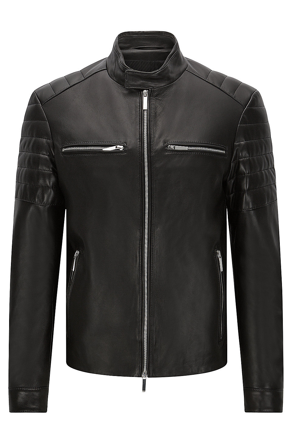 Boss mercedes benz lambskin biker jacket norvyn for Mercedes benz jacket