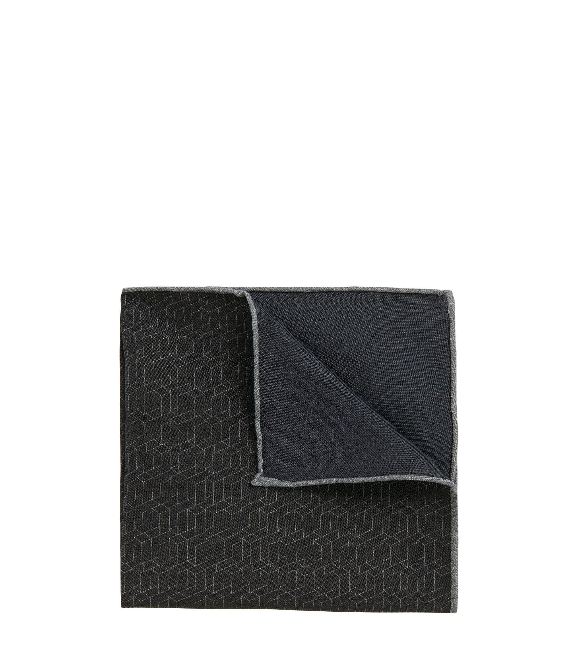BOSS Tailored Italian Silk Cotton Pocket Square, Charcoal