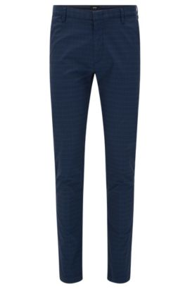 'Rice-W' | Slim Fit, Stretch Cotton Blend Pants, Dark Blue