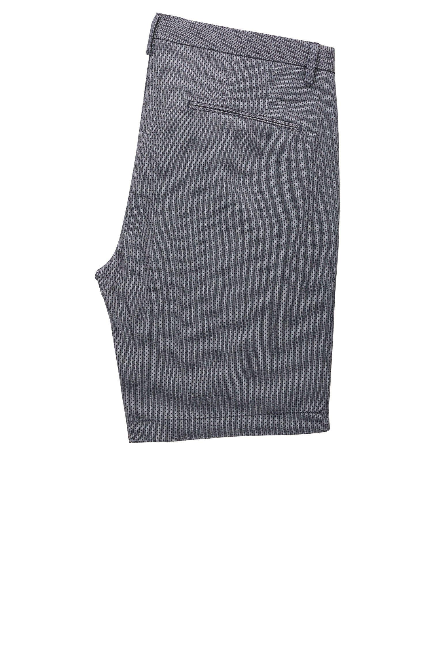 Stretch Cotton Printed Short, Slim Fit | Rice Short D, Dark Blue