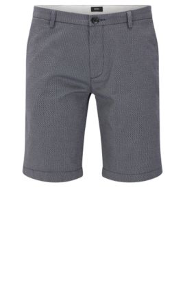 'Rice Short D' | Slim Fit, Stretch Cotton Printed Shorts, Dark Blue