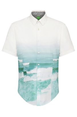 'Bhillo' | Slim Fit, Cotton Wave Print Button Down Shirt, Open Blue