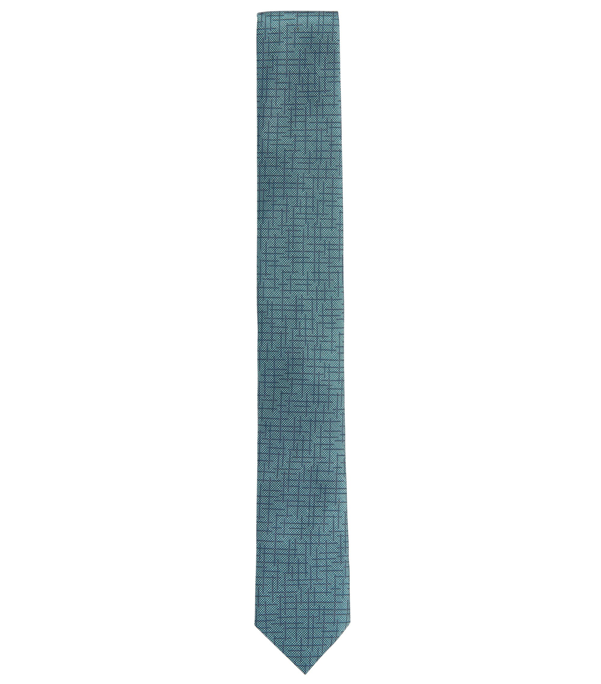Patterned Italian Silk Slim Tie, Green