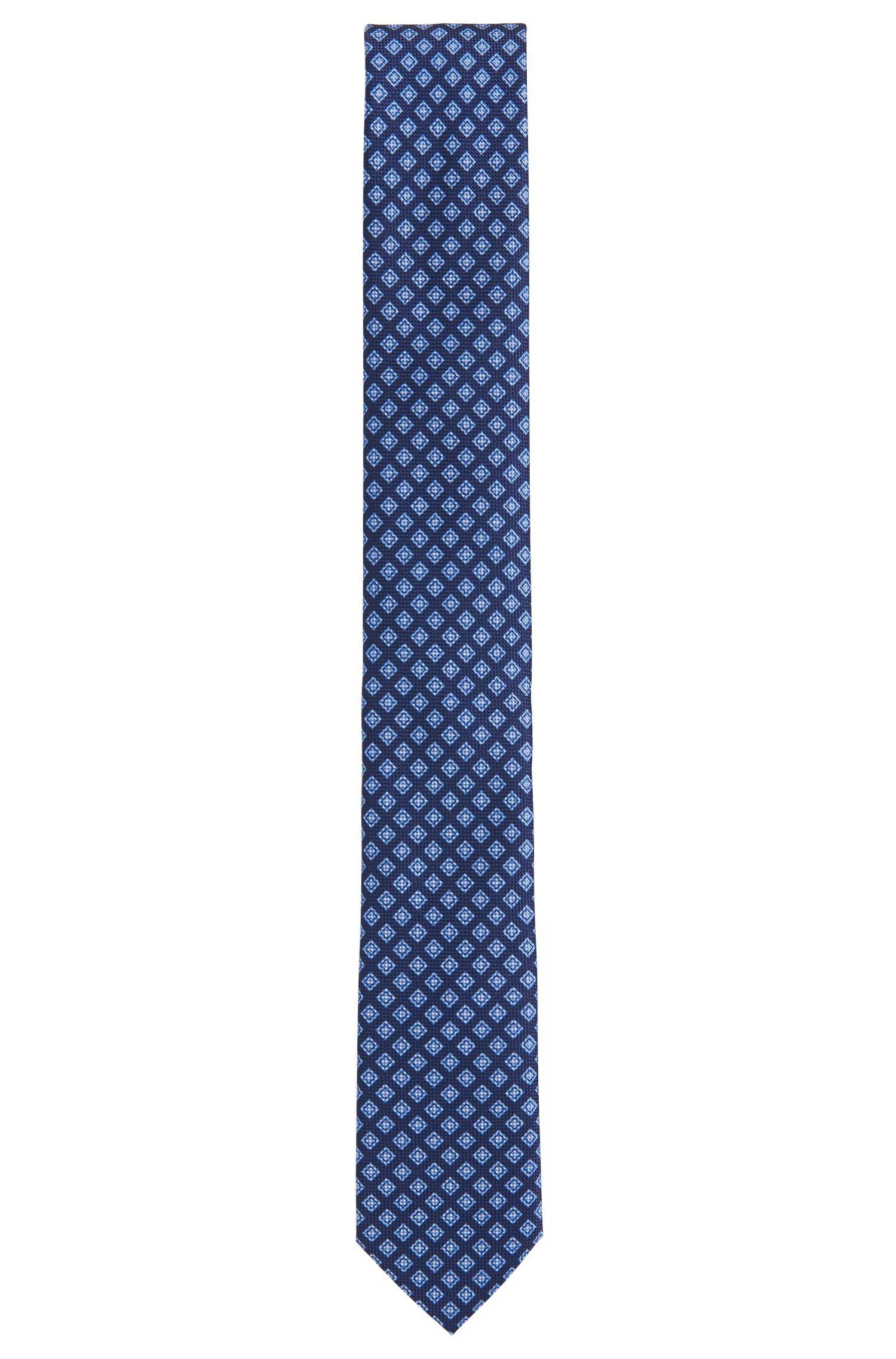 Patterned Italian Silk Slim Tie, Blue