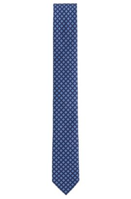 Patterned Italian Silk Slim Tie, Blue