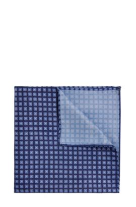 'Pocket sq. cm 33x33' | Silk Patterned Pocket Square, Blue
