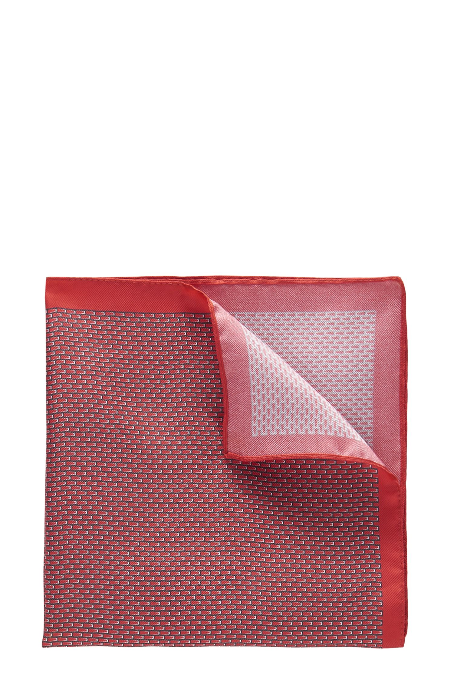 Patterned Italian Silk Pocket Square   Pocket sq. cm 33x33