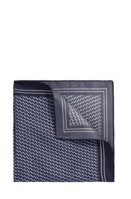 Geometric Italian Silk Pocket Square | Pocket sq. cm 33x33, Dark Blue