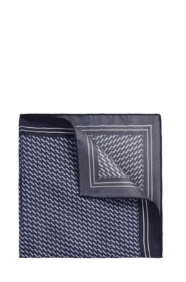 Geometric Italian Silk Pocket Square | Pocket sq. cm 33x33, Dark Blue