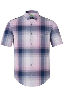 Gradient Checked Cotton Shirt, Regular Fit | C-Bansino, Open Purple