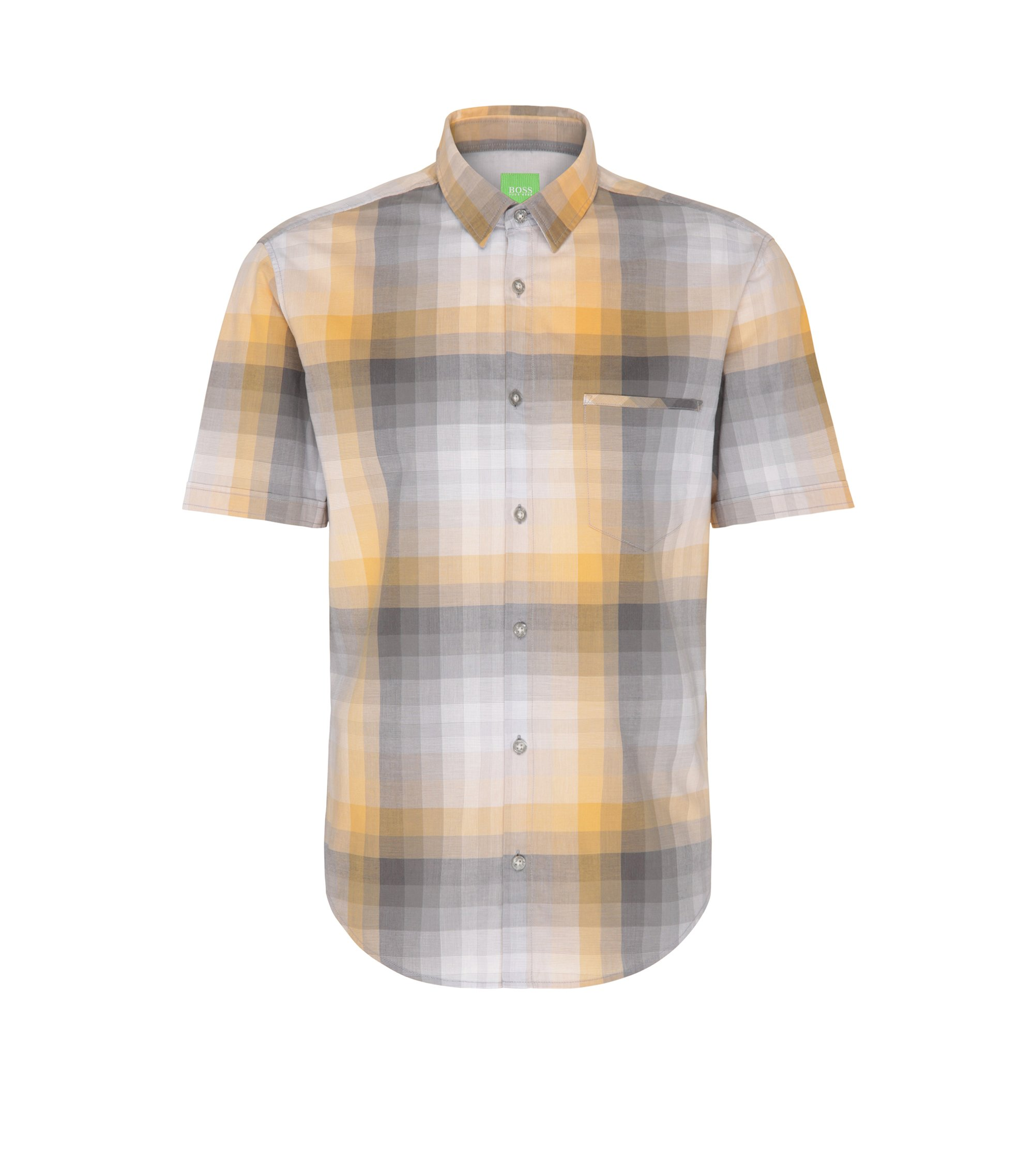 Gradient Checked Cotton Shirt, Regular Fit | C-Bansino, Open Orange