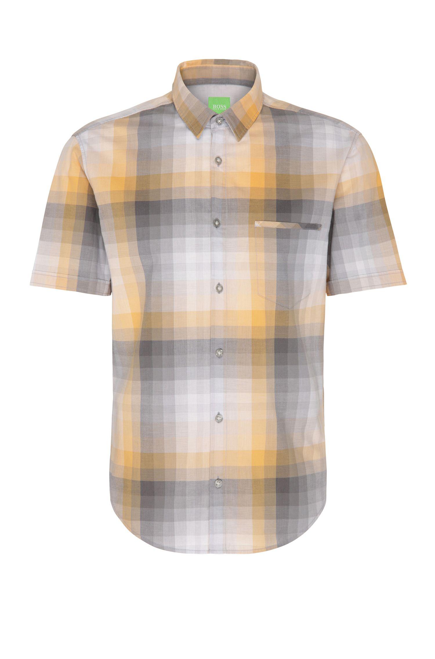'C-Bansino' | Regular Fit, Gradient Checked Cotton Shirt