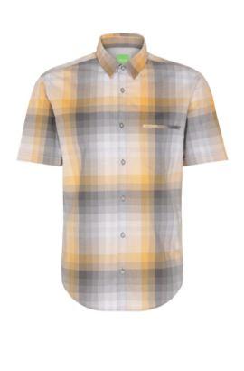 'C-Bansino' | Regular Fit, Gradient Checked Cotton Shirt, Open Orange