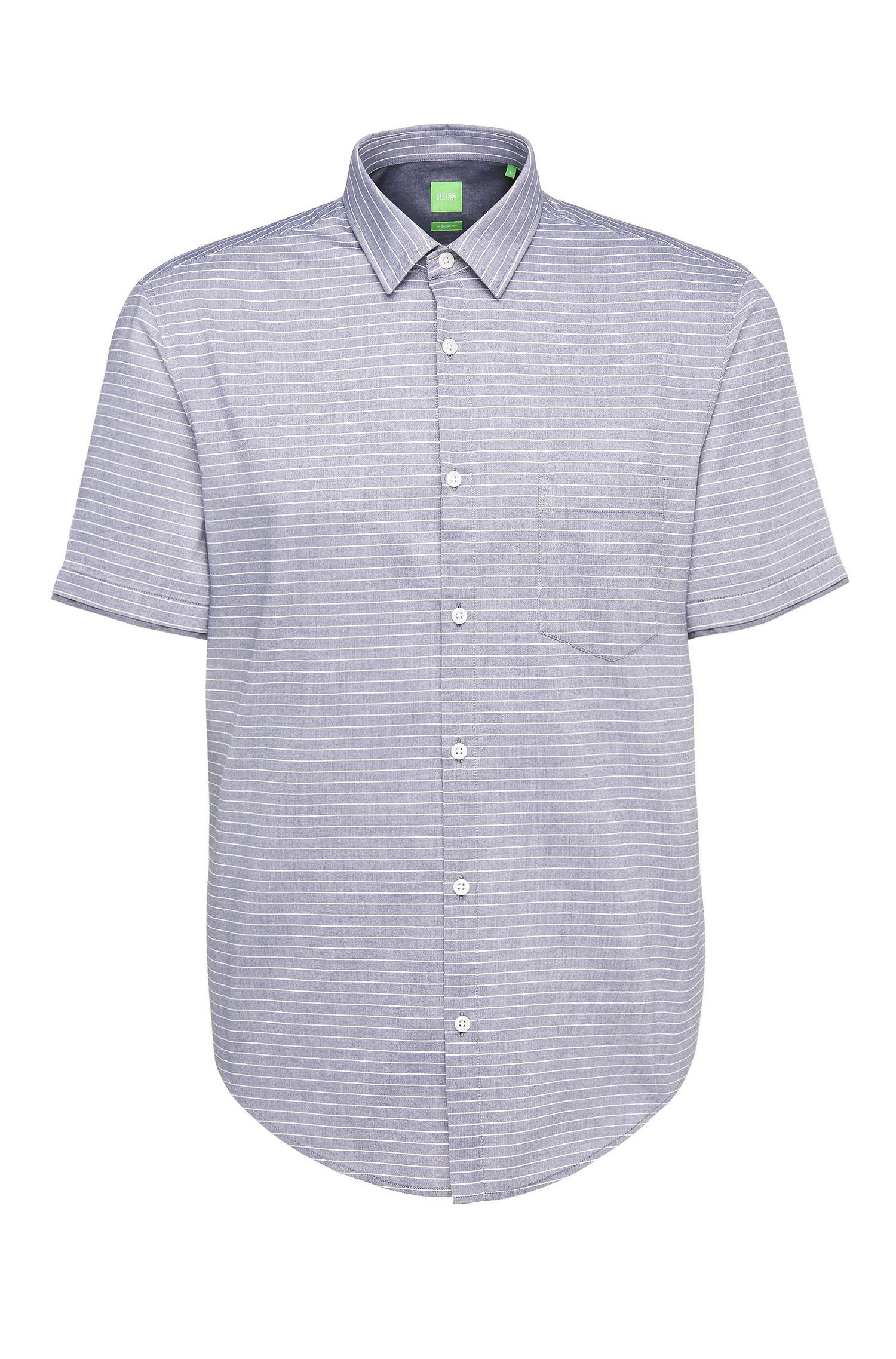 'C-Baulino' | Regular Fit, Cotton Striped Button Down Shirt