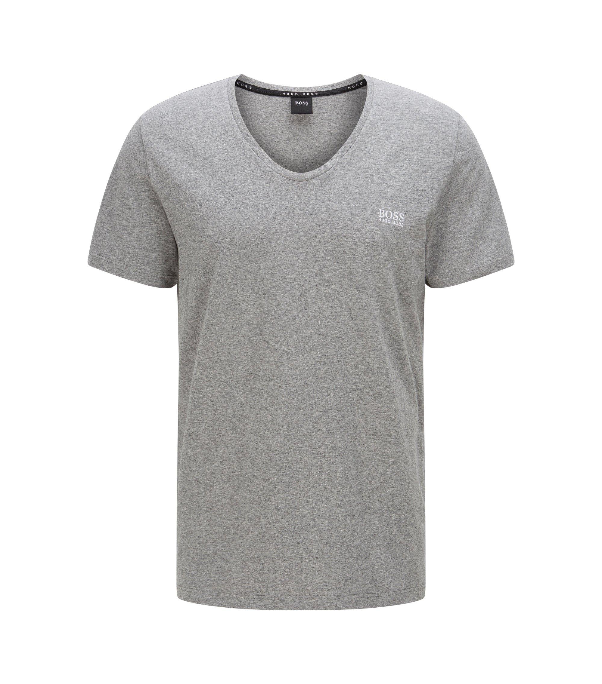 Stretch Cotton V-Neck T-Shirt | T-Shirt DN, Grey