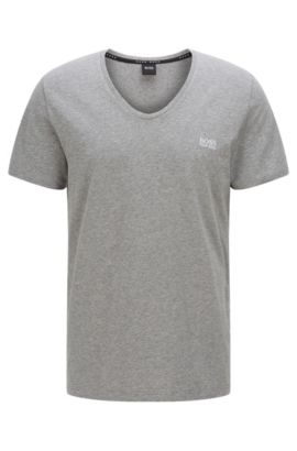 Stretch Cotton V-Neck T-Shirt | T-Shirt DN, Grey