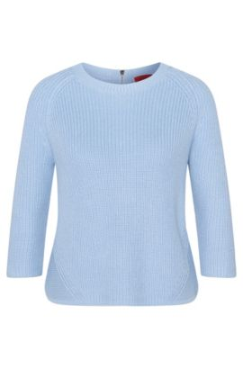 'Sirina' | Cotton Zip-Back Sweater, Light Blue