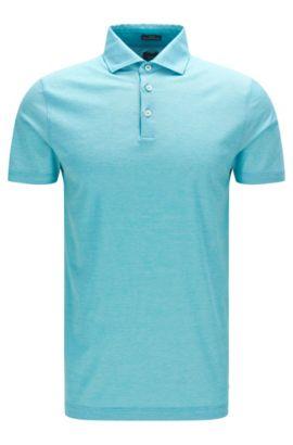 'T-Pryde' | Slim Fit, Italian Cotton Jacquard Polo Shirt, Open Green