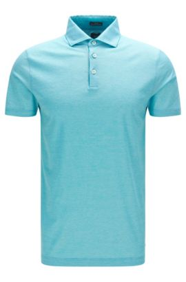 'T-Pryde' | Slim Fit, Italian Cotton Jacquard Polo Shirt, Open Green