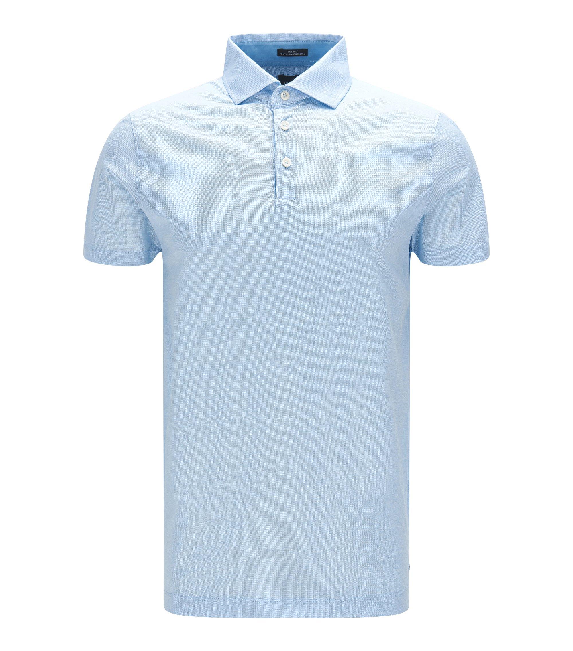 Italian Cotton Jacquard Polo Shirt, Slim Fit | T-Pryde, Light Blue