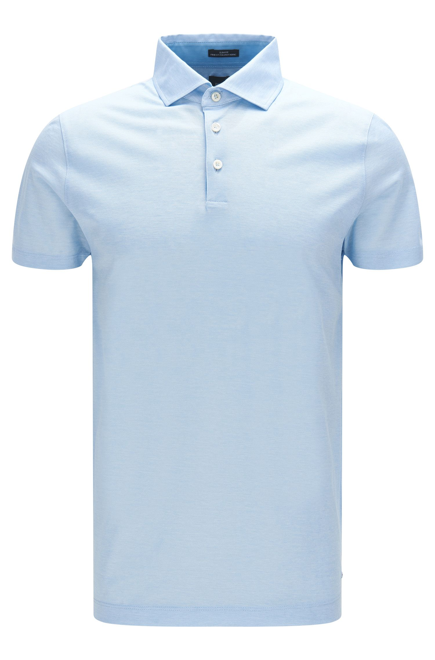 Italian Cotton Jacquard Polo Shirt, Slim Fit | T-Pryde, Light Blue