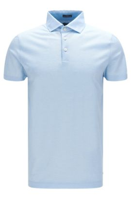 'T-Pryde' | Slim Fit, Italian Cotton Jacquard Polo Shirt, Light Blue