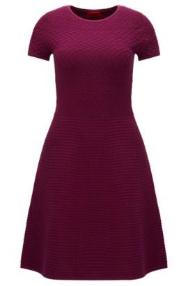 'Somaria' | Patterned A-line Sweater Dress, Purple