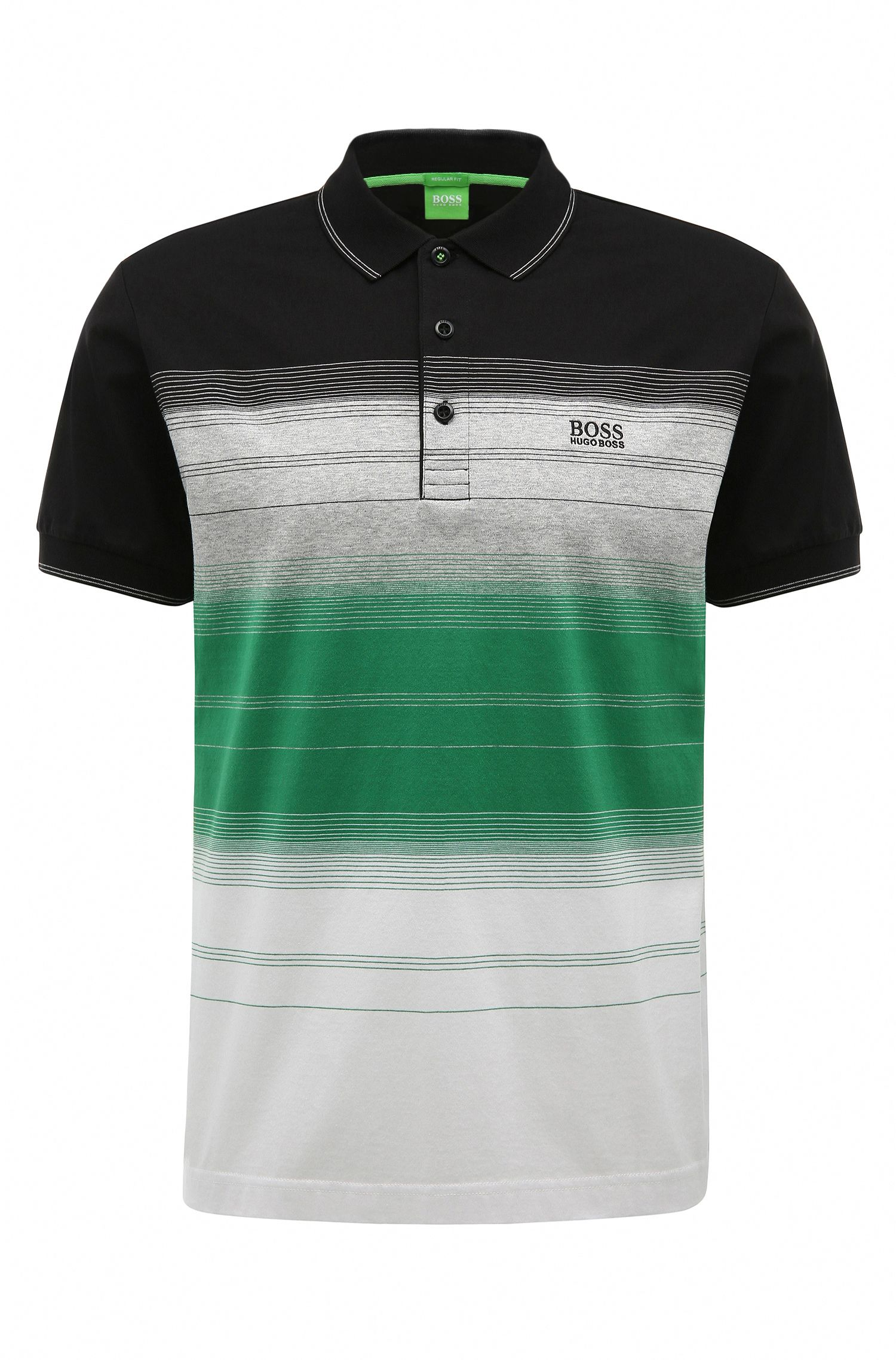 'Paddy 3' | Regular Fit, Striped Cotton Polo Shirt