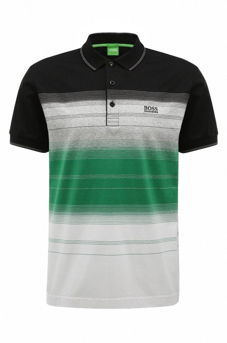 6bd49c68 'Paddy 3' | Regular Fit, Striped Cotton Polo Shirt, Black. '