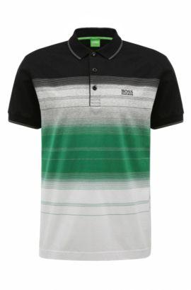 'Paddy 3' | Regular Fit, Striped Cotton Polo Shirt, Black