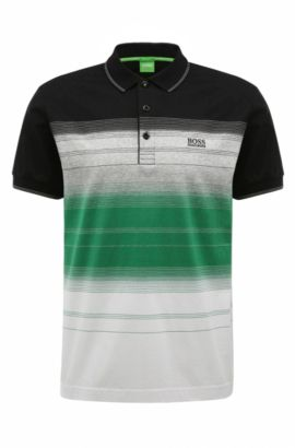 'Paddy 3' | Regular Fit, Striped Cotton Polo Shirt, Black