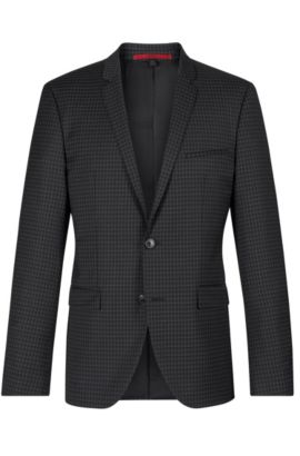 'Adris' | Extra Slim Fit, Virgin Wool Sport Coat, Black