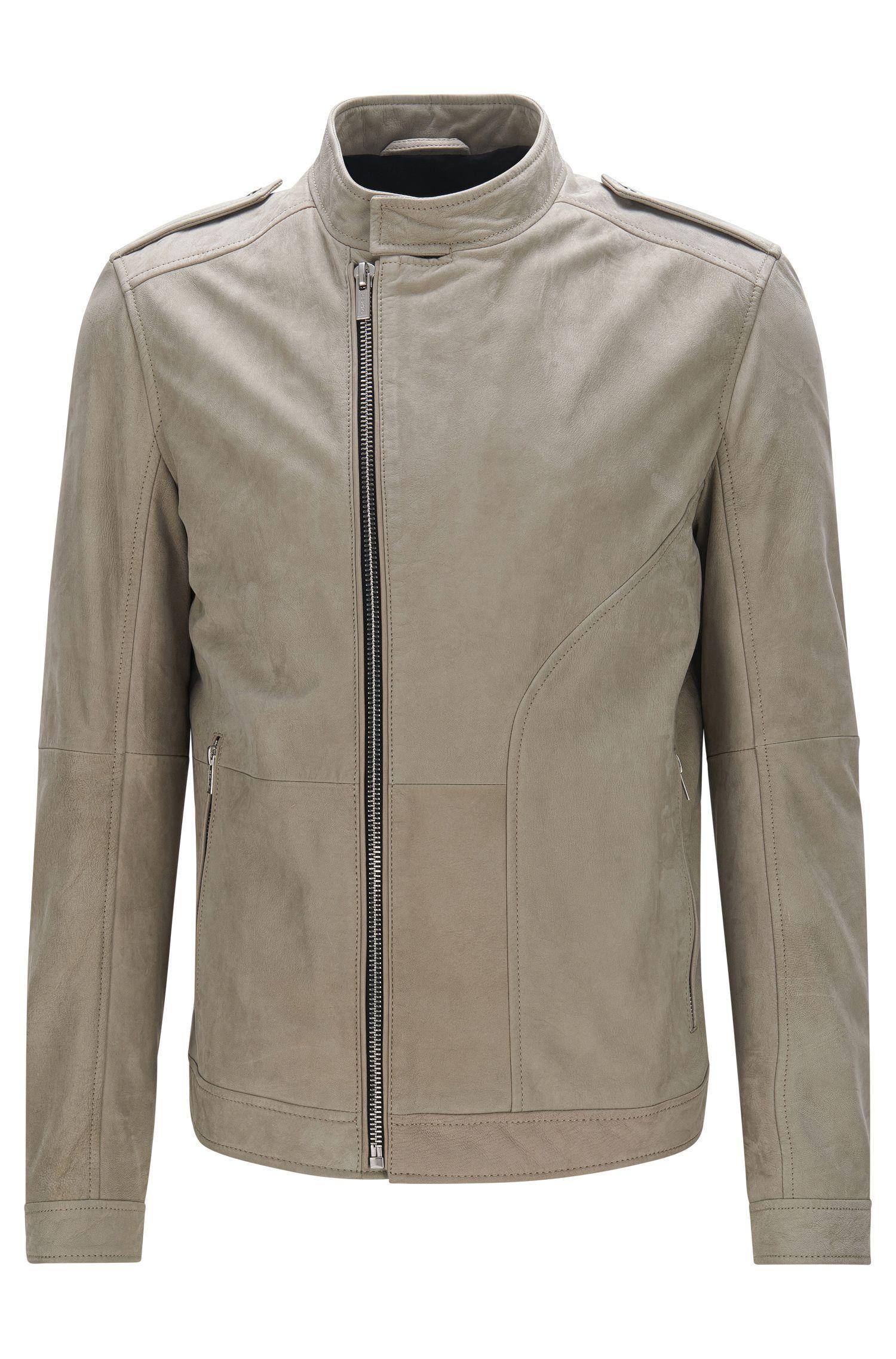 Asymmetrical Leather Jacket, Regular Fit | Landerson, Beige