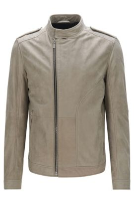 'Landerson' | Regular Fit, Asymmetrical Leather Jacket, Beige