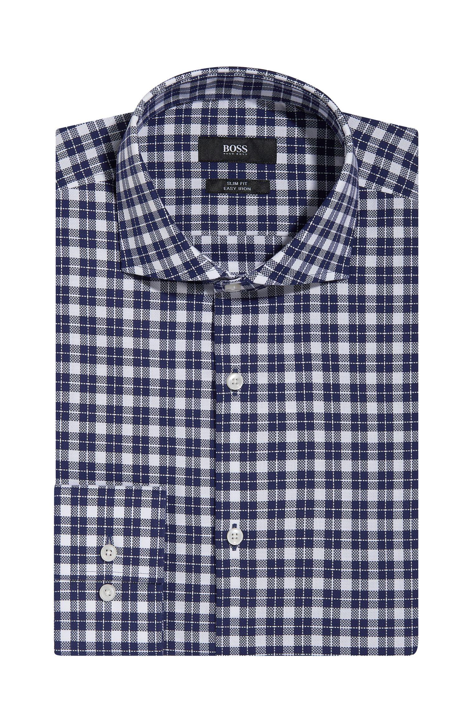 'Jason' | Slim Fit, Check Easy Iron Cotton Dress Shirt