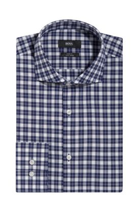 Check Easy-Iron Cotton Dress Shirt, Slim Fit | Jason, Dark Blue