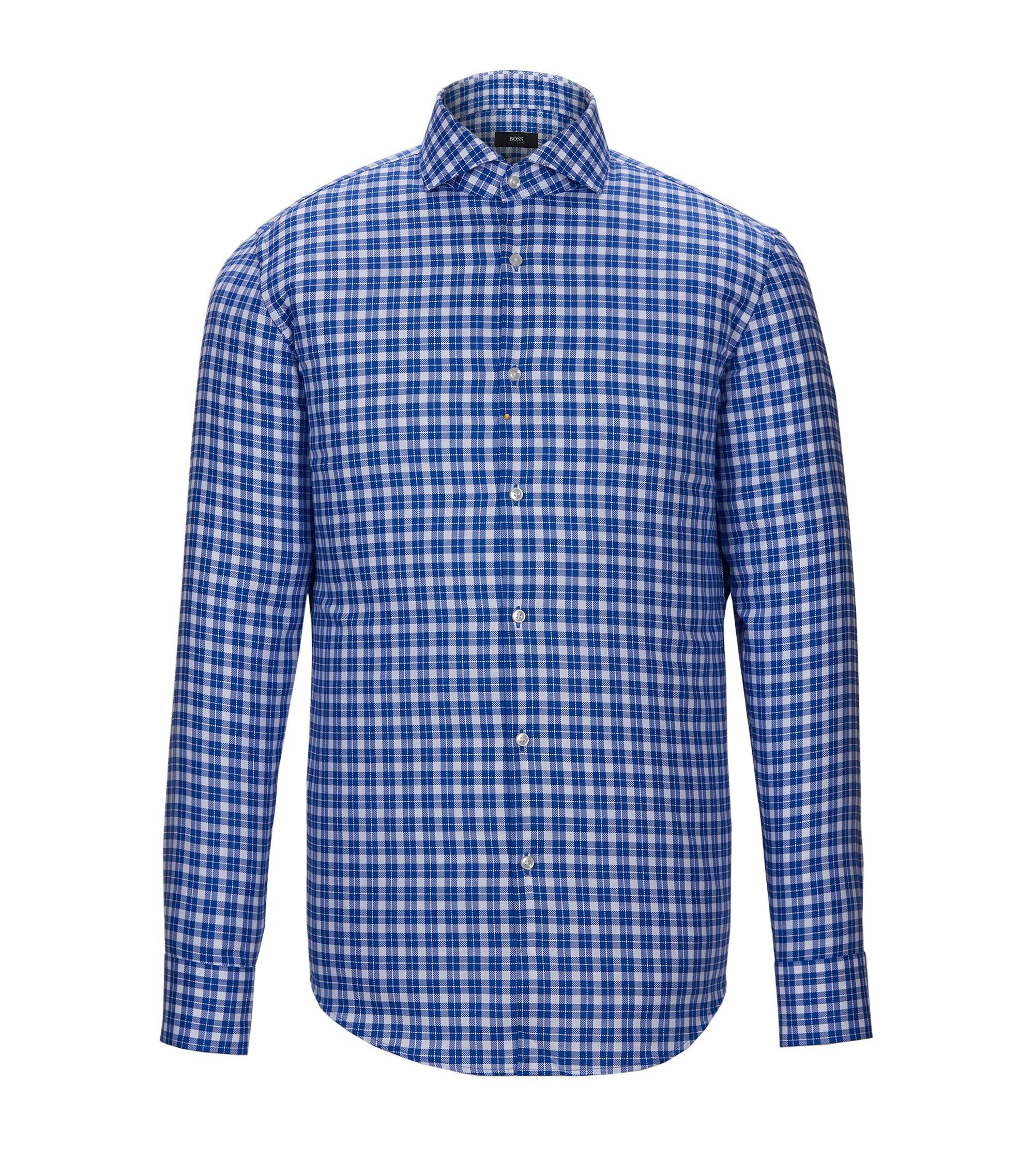 Check Easy Iron Cotton Dress Shirt, Slim Fit | Jason, Blue