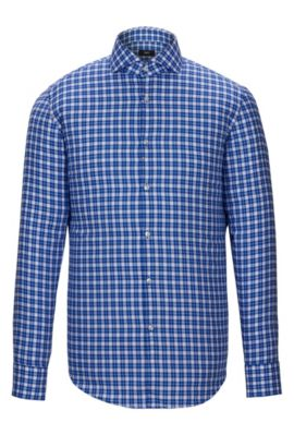 Check Easy Iron Cotton Dress Shirt, Slim Fit | Jason, Blue