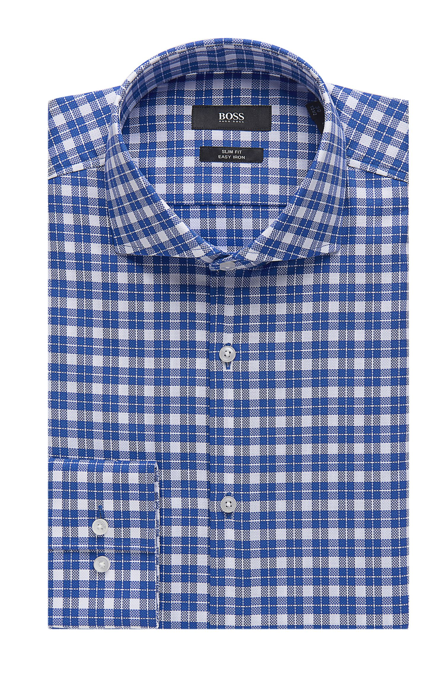 Check Easy Iron Cotton Dress Shirt, Slim Fit | Jason