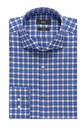 Check Easy-Iron Cotton Dress Shirt, Slim Fit | Jason, Blue