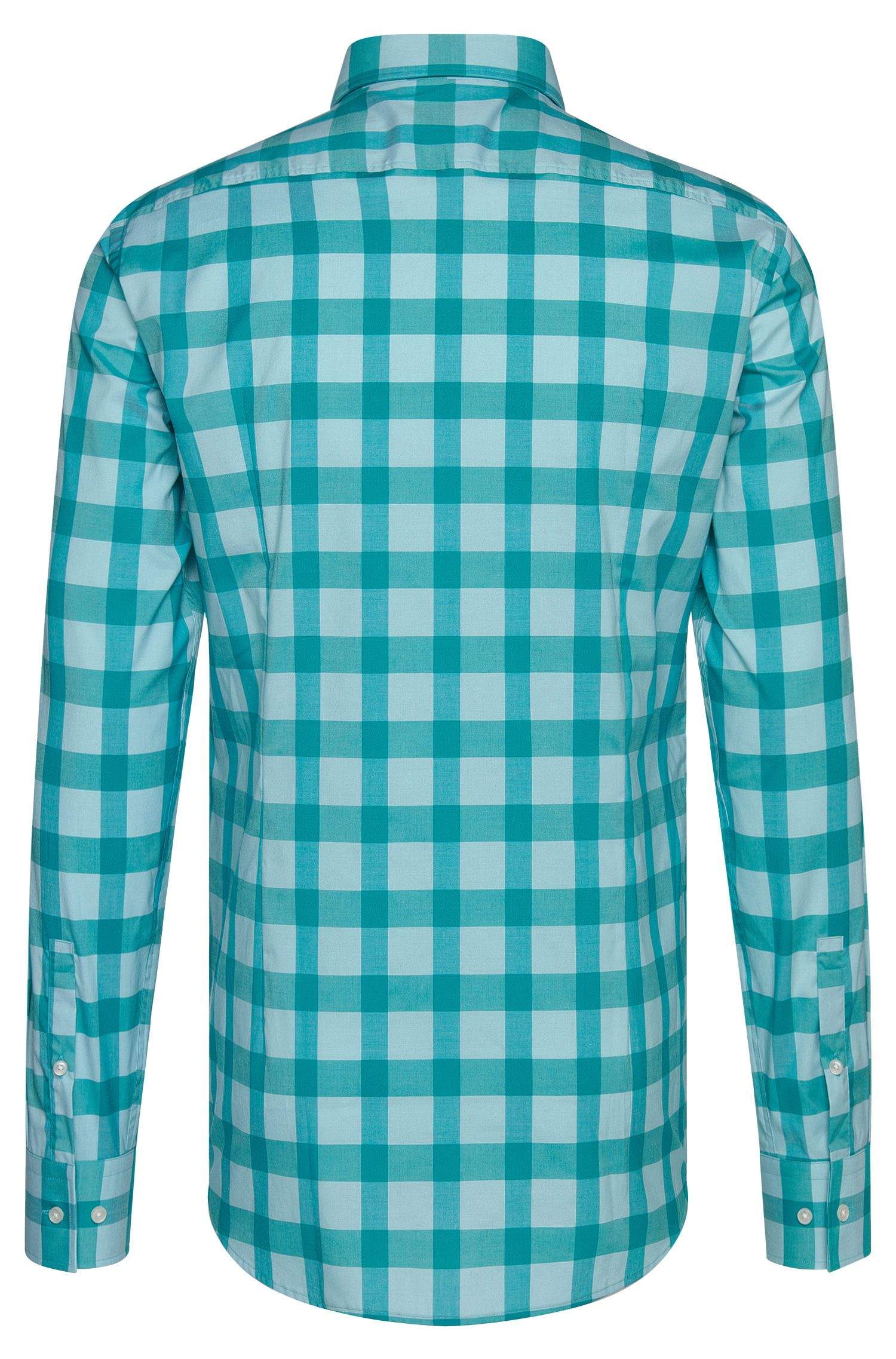 Buffalo Check Cotton Easy Iron Dress Shirt, Slim Fit   Jason, Open Green