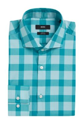Buffalo Check Cotton Easy Iron Dress Shirt, Slim Fit | Jason, Open Green