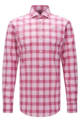 Buffalo Check Cotton Easy Iron Dress Shirt, Slim Fit | Jason, Pink