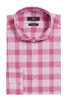 Buffalo Check Cotton Easy Iron Dress Shirt, Slim Fit | Jason, Pink