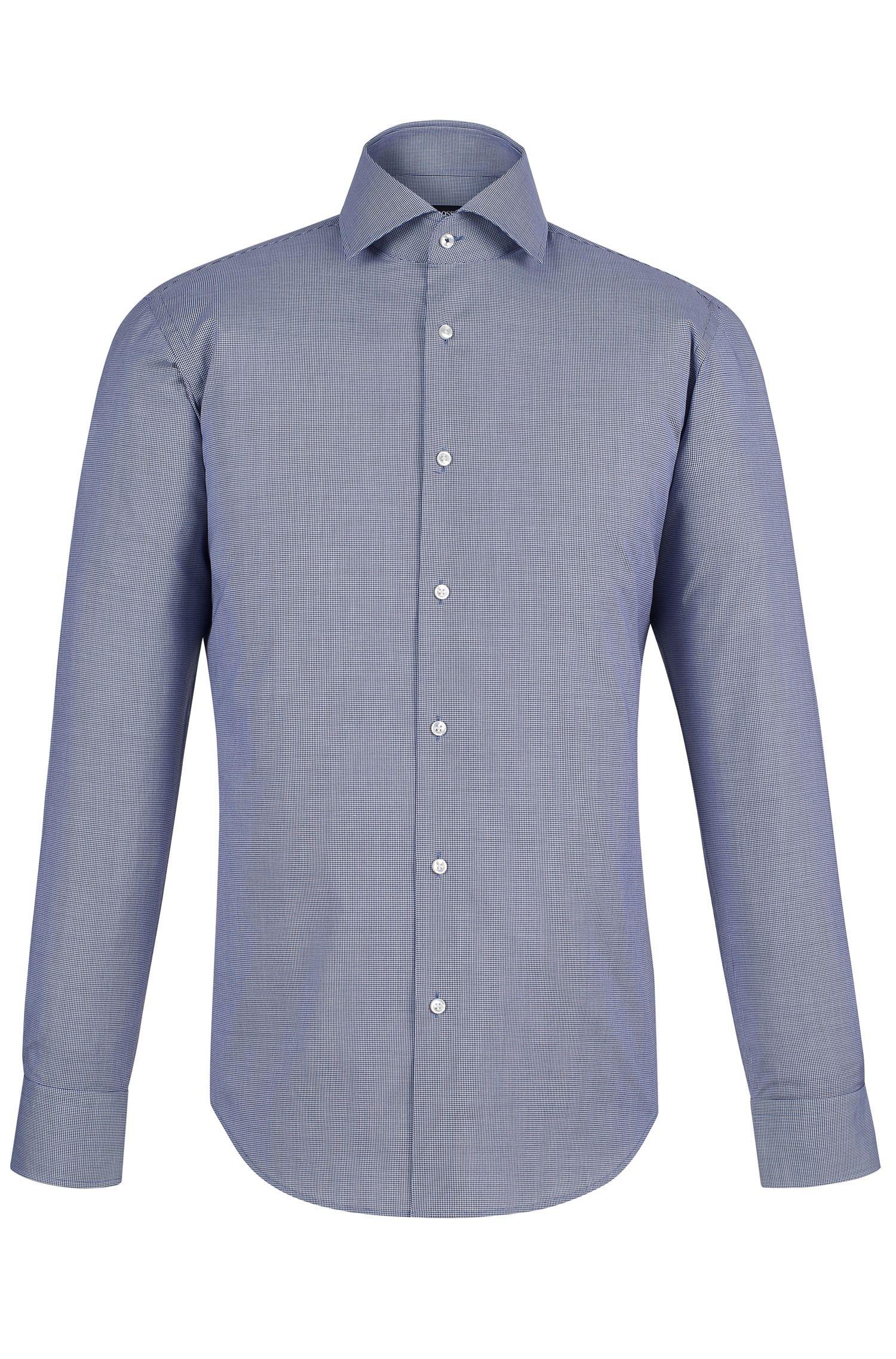 Micro-Check Easy Iron Cotton Dress Shirt, Regular Fit| Gert, Dark Blue