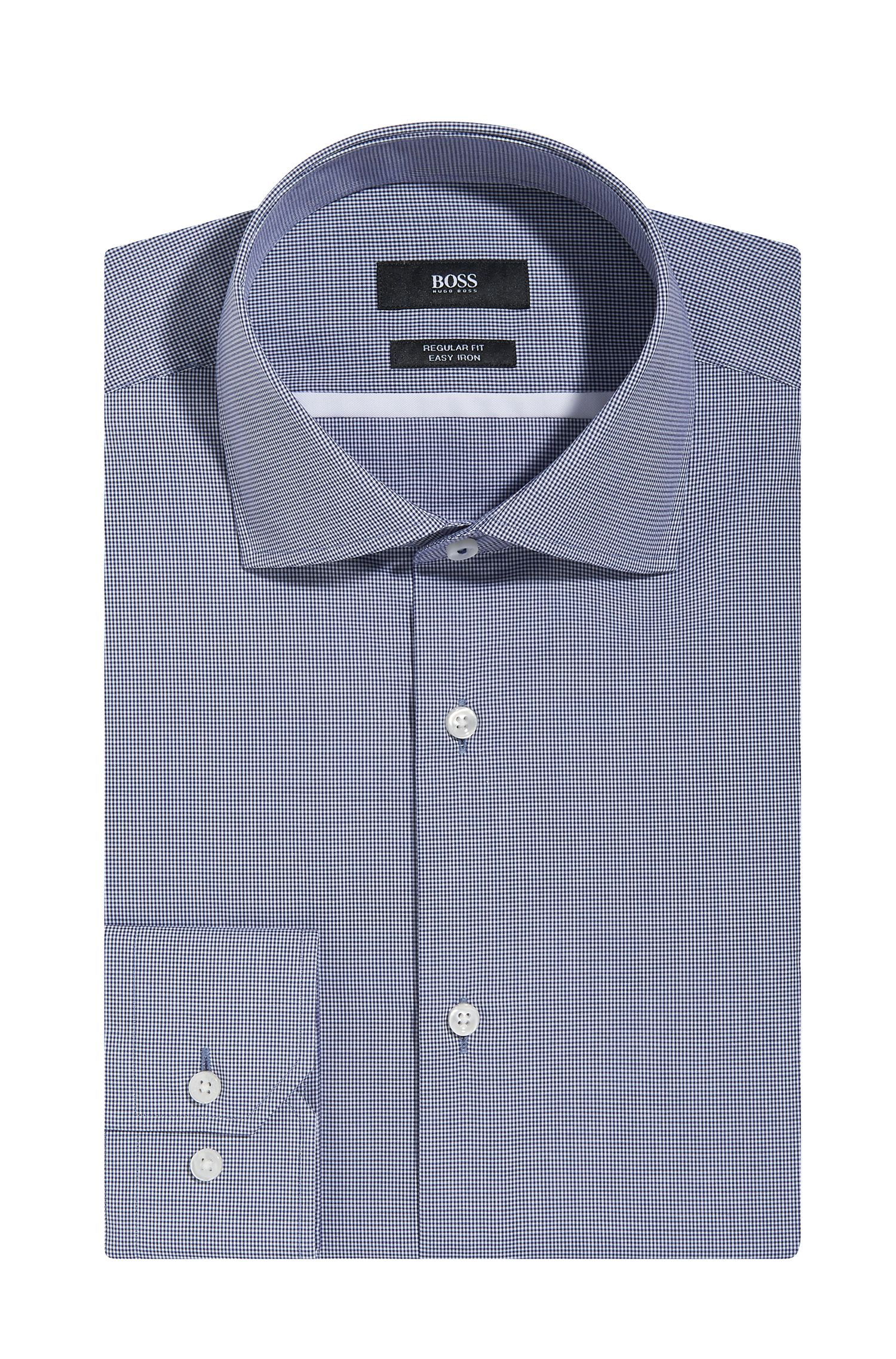 Microcheck Easy Iron Cotton Dress Shirt, Regular Fit | Gert