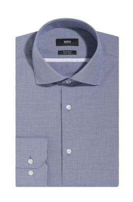 Microcheck Easy Iron Cotton Dress Shirt, Regular Fit | Gert, Dark Blue
